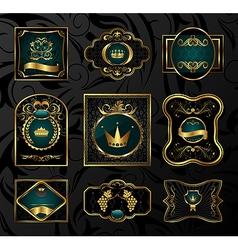 set black gold-framed labels - vector image vector image