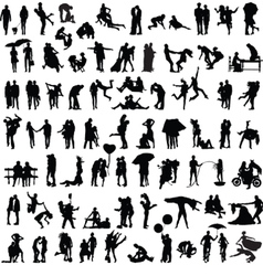 Set of silhouettes of couples vector