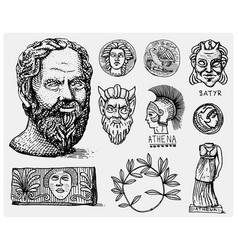ancient greece antique symbols socrates head vector image