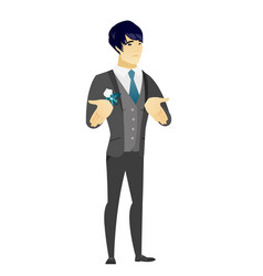 asian confused groom shrugging shoulders vector image vector image