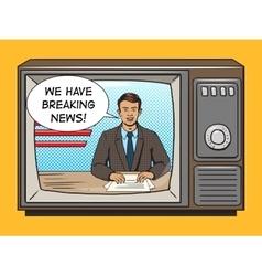 News presenter on tv pop art style vector image vector image