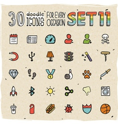 30 colorful doodle icons set 11 vector image vector image