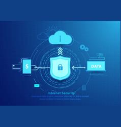 Internet security line flat style design vector