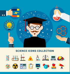 science icons collection vector image
