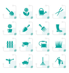 stylized garden and gardening tools and objects vector image vector image