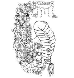 zentangl woman girl in the vector image vector image