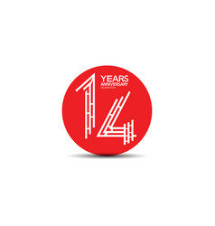 14 years anniversary design with labyrinth style vector