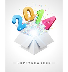 3d happy new year 2014 message fly vector