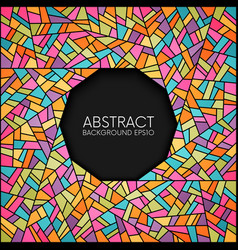 abstract colorful stained glass circle frame vector image