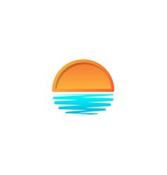 beach sunset logo design icon element sunset logo vector image