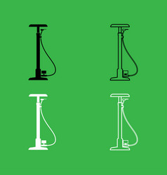 bicycle pump icon black and white color set vector image