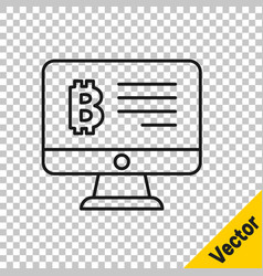 black line mining bitcoin from monitor icon vector image