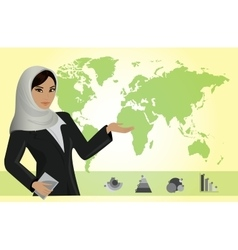 Business woman on background of a map and business vector image