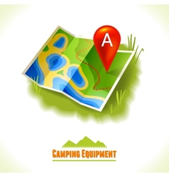 Camping symbol travel map vector image