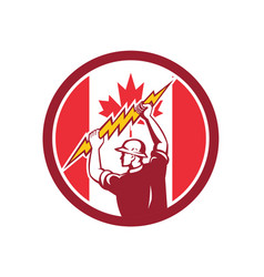 canadian electrician lighting bolt canada flag vector image