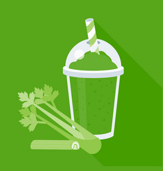 Celery smoothie or juice in plastic glass vector