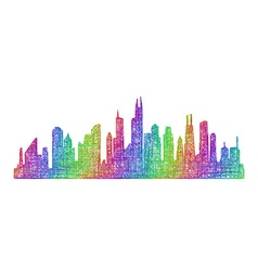 Chicago skyline silhouette - multicolor line art vector