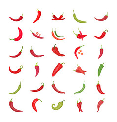 Chili pepper flat icons vector