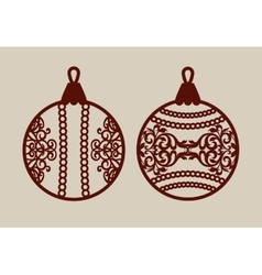 Christmas balls with lace pattern vector image