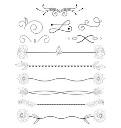 collection of handdrawn bordersunique swirls and vector image