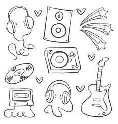 Collection stock of musical instrument doodles vector