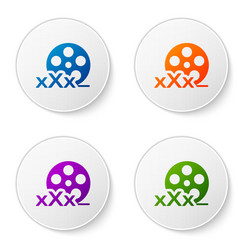 Color film reel with inscription xxx icon isolated vector