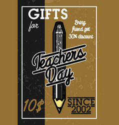 color vintage teachers day banner vector image