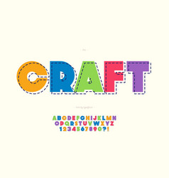Craft font bold colorful style vector