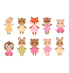 cute dressed woodland animals in modern flat style vector image