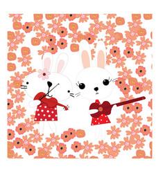 cute rabbit bunny cartoon play music in spring vector image