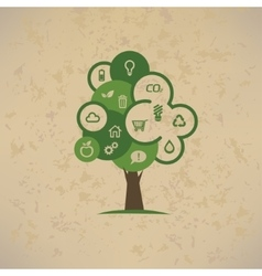 eco tree with enviromental icons set vector image