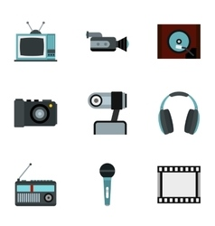 Electronic equipment icons set flat style vector
