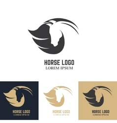 Emblem template with horse head Design elements vector