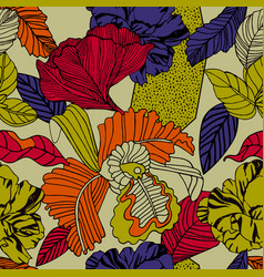 Exotic orhid in bright colours vector