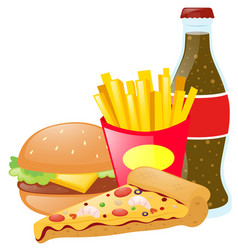 Fastfood and soda on white background vector
