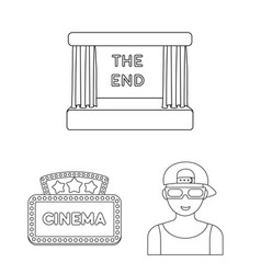 Films and cinema outline icons in set collection vector
