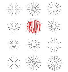 firework line icon set happy new year firework vector image