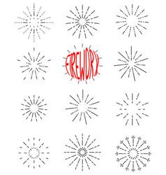 firework line icon set happy new year vector image