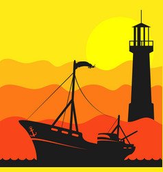 Fishing boat in the sea and lighthouse vector