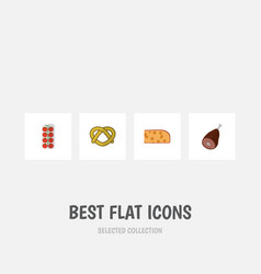 Flat icon eating set of tomato cookie cheddar vector