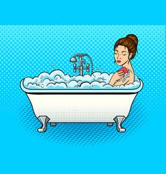 Girl takes a bath pop art vector