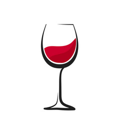 Glass red wine with splash hand drawing vector