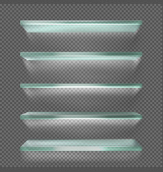 Glass shelves with backlight ice rack isolated vector