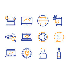 Globe seo internet and online shopping icons set vector