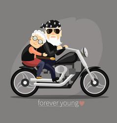 Grandma and grandpa riding a motorcycle vector