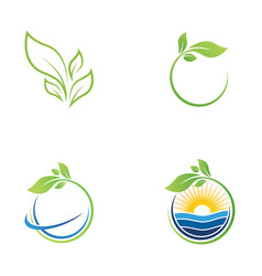 green tree leaf ecology nature element vector image