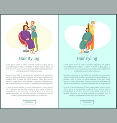 hair styling poster woman sitting and hairdresser vector image
