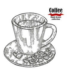 Hand drawn black coffee cup isolated on white vector