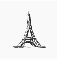 hand drawn of paris famous vector image