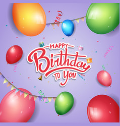Happy birthday design with balloons isolated vector